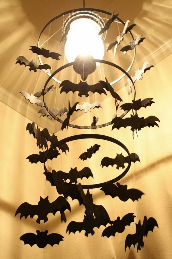 DIY Spooky Bat Chandelier.