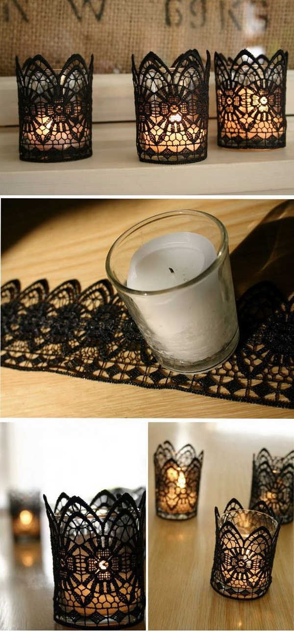 DIY Lace Candles.