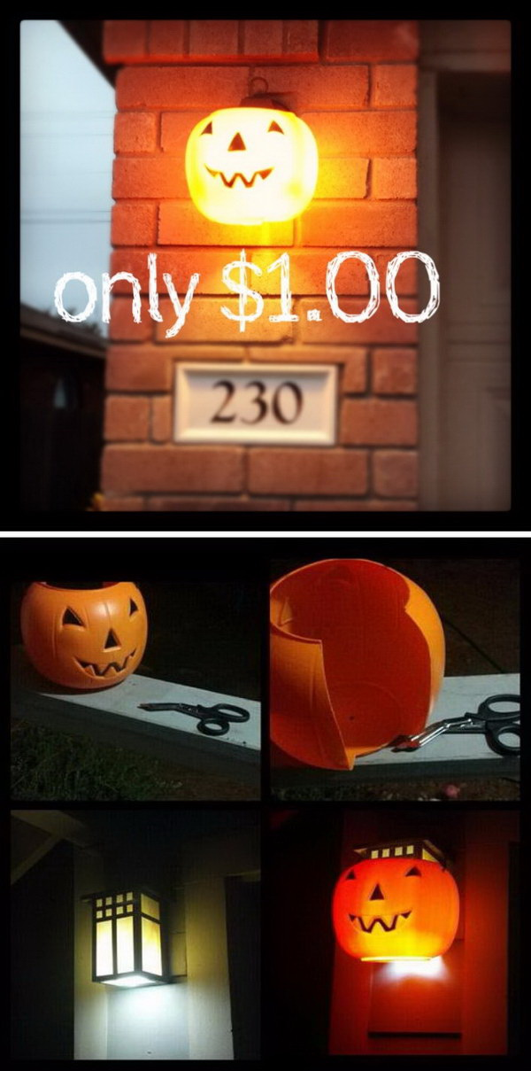 Plastic Pumpkins Lights. Put $1.00 Plastic Pumpkins Over Outdoor Porch and Garage for Halloween Decoration.