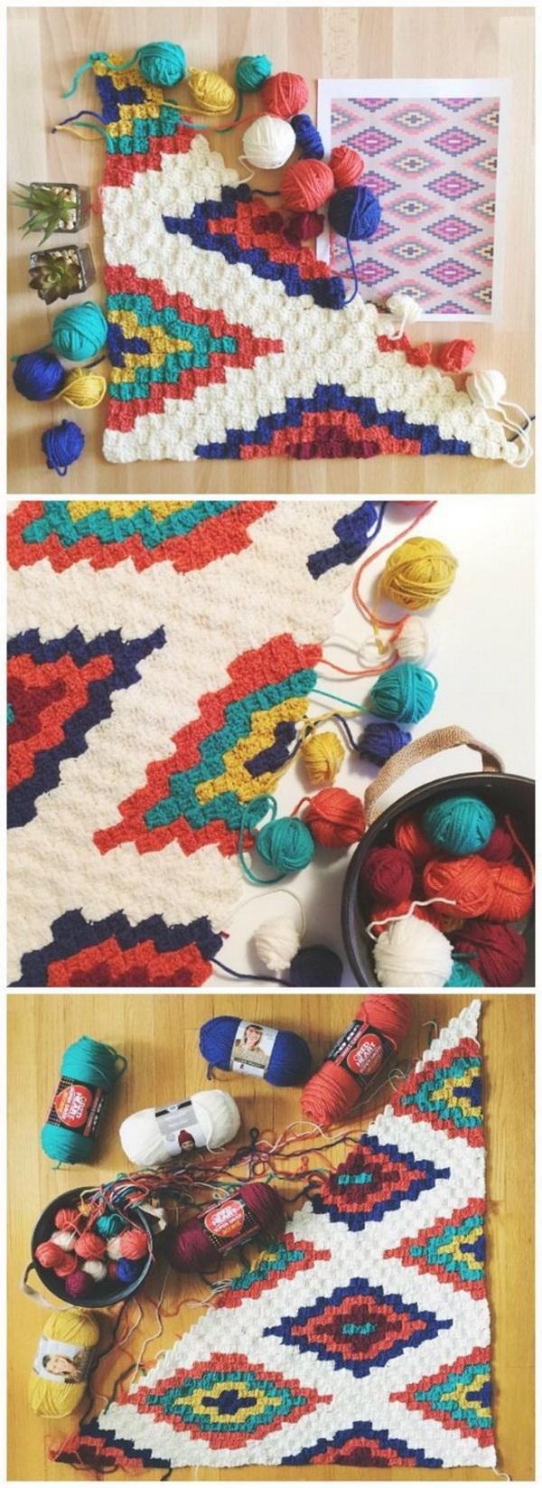 Quick And Easy Crochet Blanket Patterns For Beginners: Corner To Corner Crochet Southwestern Throw Blanket.