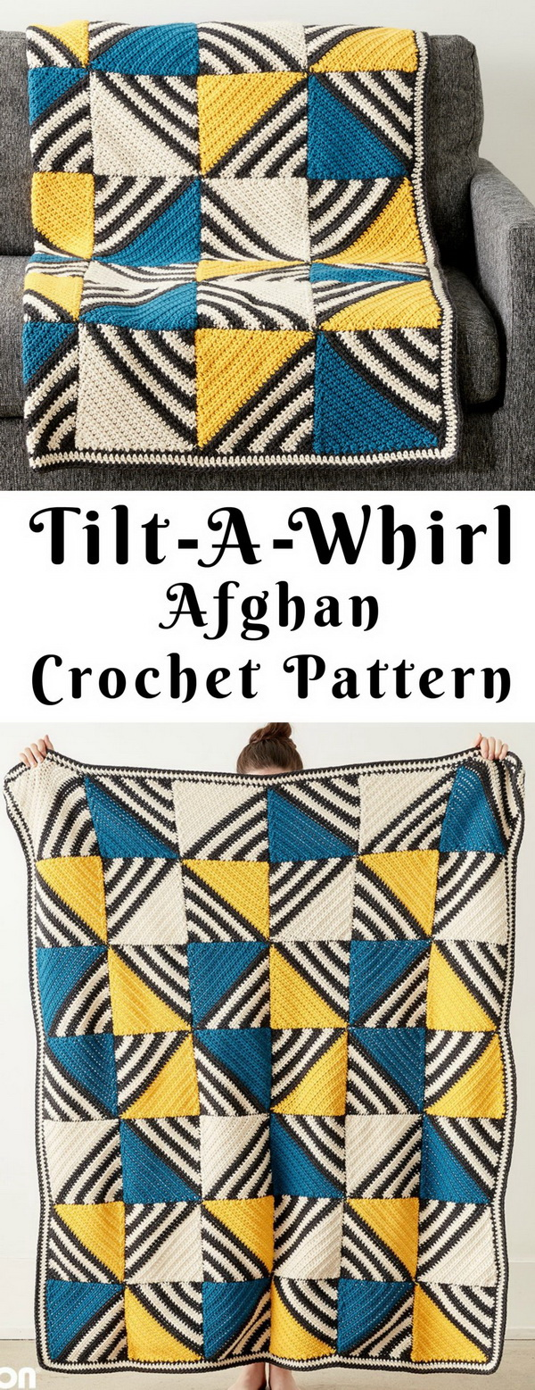 Quick And Easy Crochet Blanket Patterns For Beginners: Tilt-A-Whirl Afghan Free Crochet Pattern.