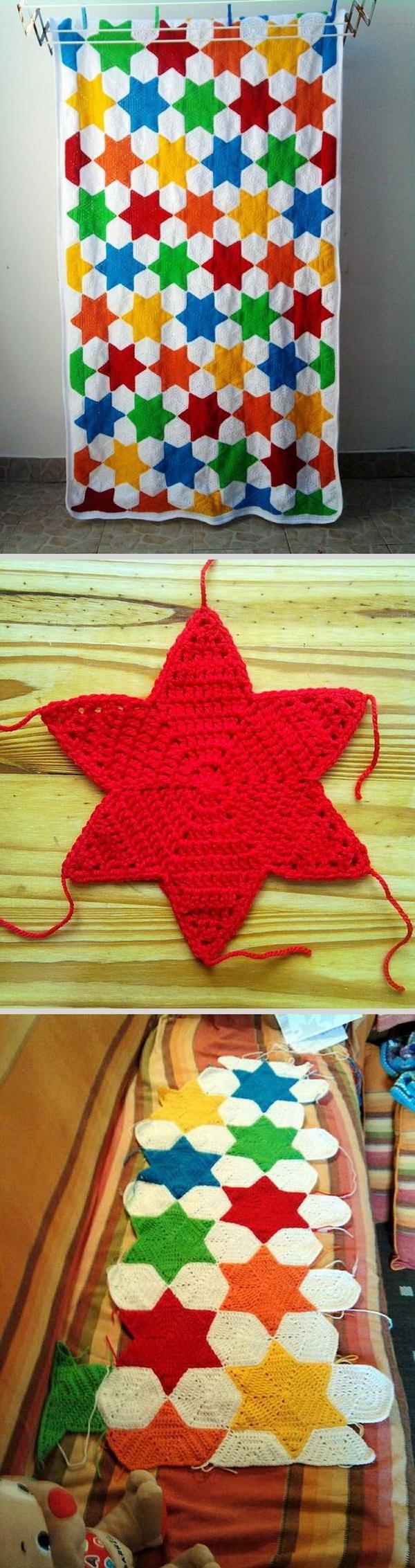 Quick And Easy Crochet Blanket Patterns For Beginners: Hexagon-based Star Blanket.