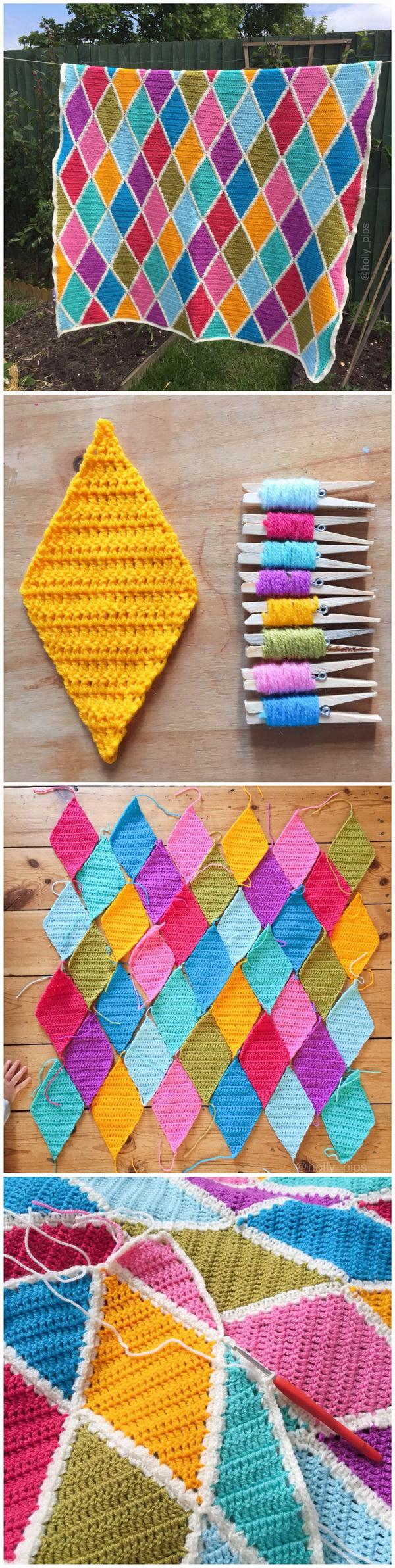 Quick And Easy Crochet Blanket Patterns For Beginners: Summer Harlequin Blanket.