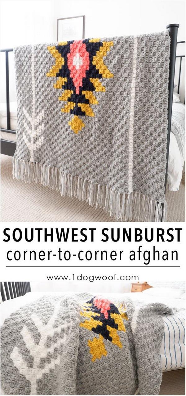 Quick And Easy Crochet Blanket Patterns For Beginners: Southwest Sunburst C2C Crochet Afghan.
