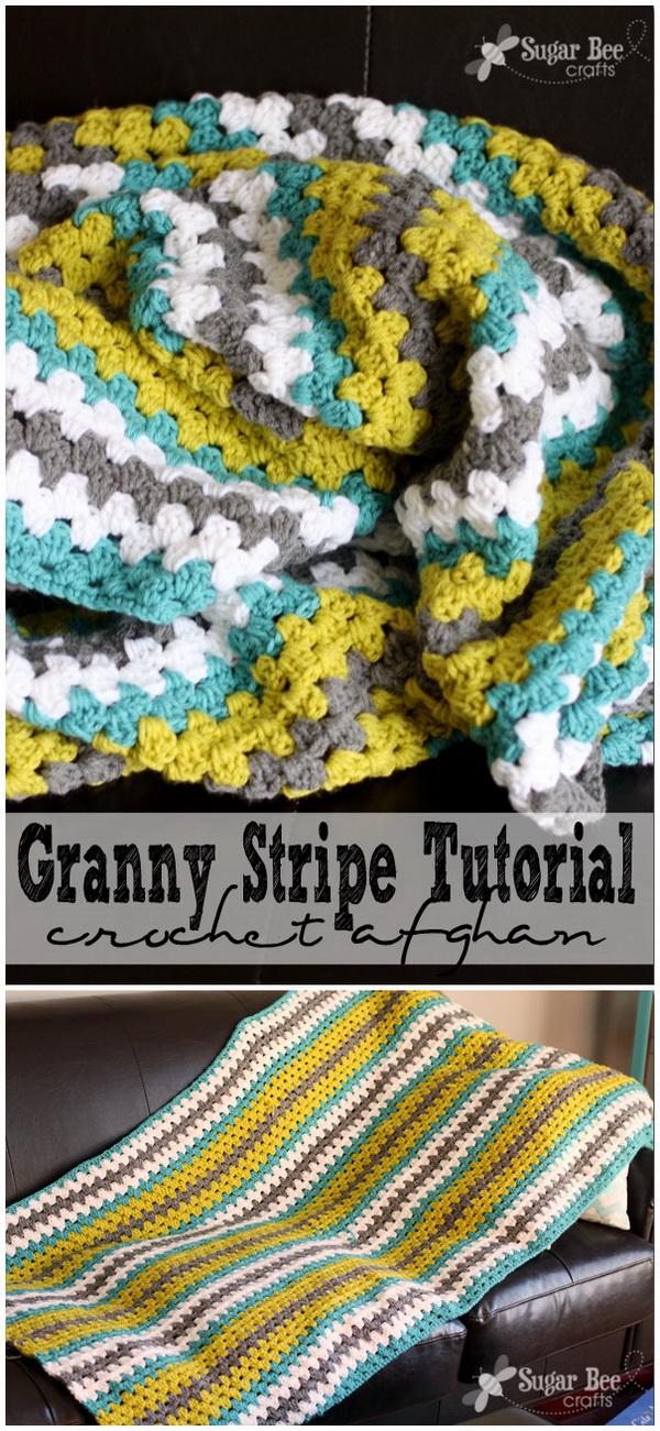 Quick And Easy Crochet Blanket Patterns For Beginners: Granny Stripe Crochet Afghan Throw Blanket.