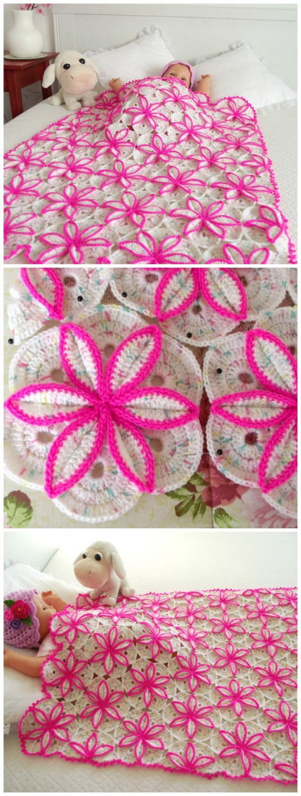 Quick And Easy Crochet Blanket Patterns For Beginners: Princess Floral Blanket Baby Blanket.