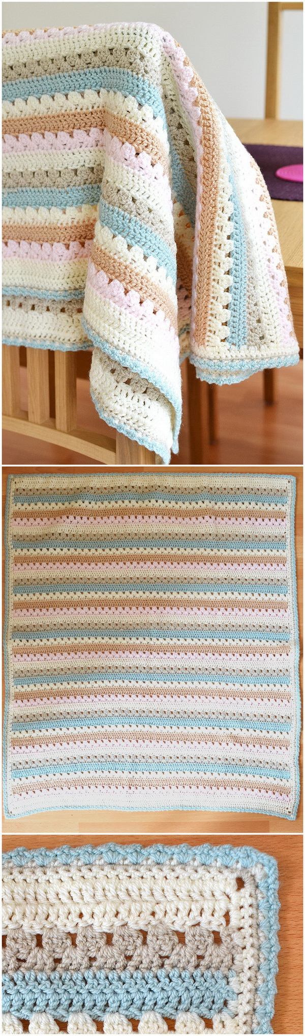 Quick And Easy Crochet Blanket Patterns For Beginners: Making A Cosy Stripe Blanket.