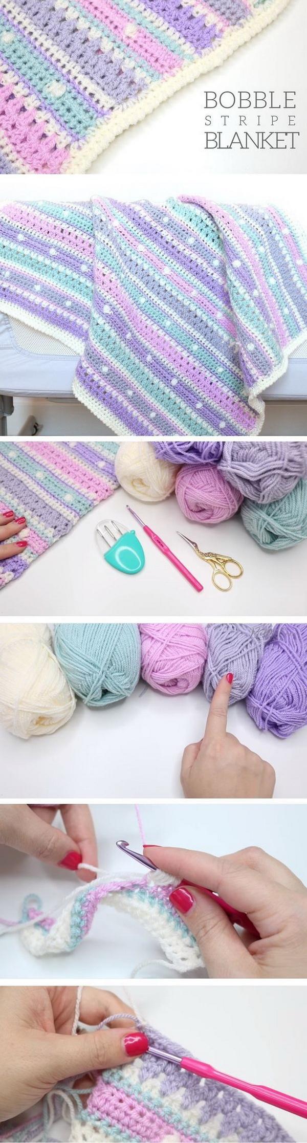 Quick And Easy Crochet Blanket Patterns For Beginners: Bobble Stripe Blanket Tutorial..