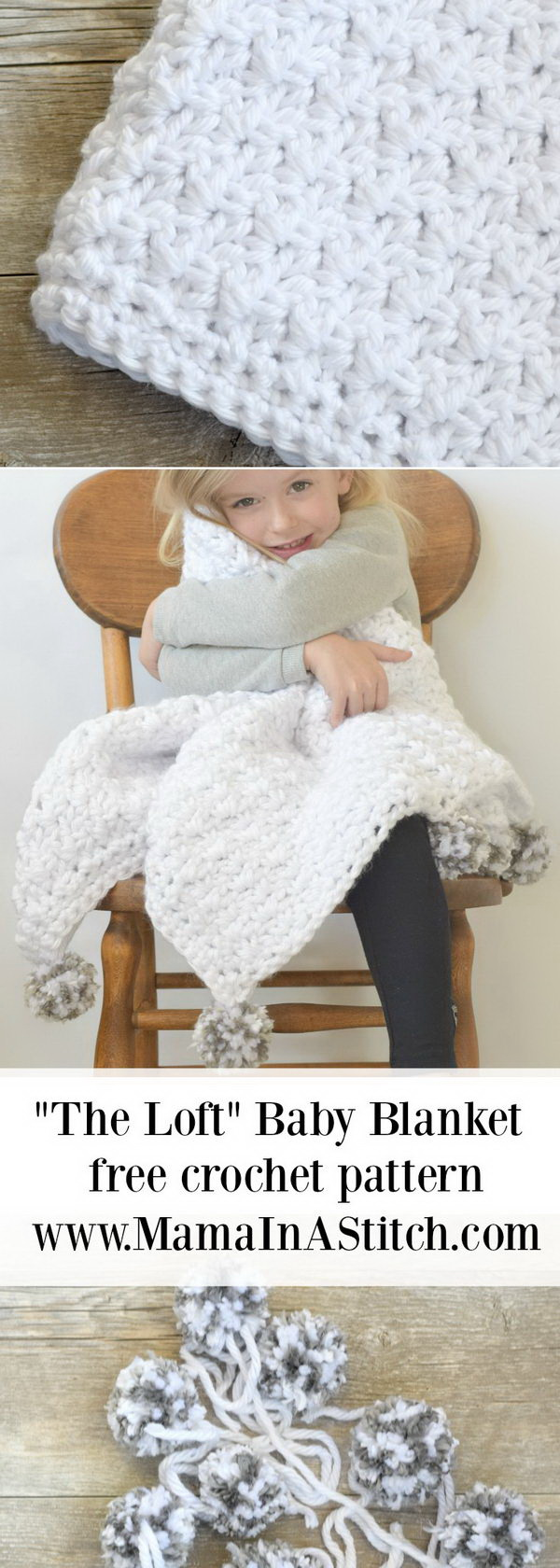 Quick And Easy Crochet Blanket Patterns For Beginners: Pom-Pom Baby Blanket Free Crochet Pattern.