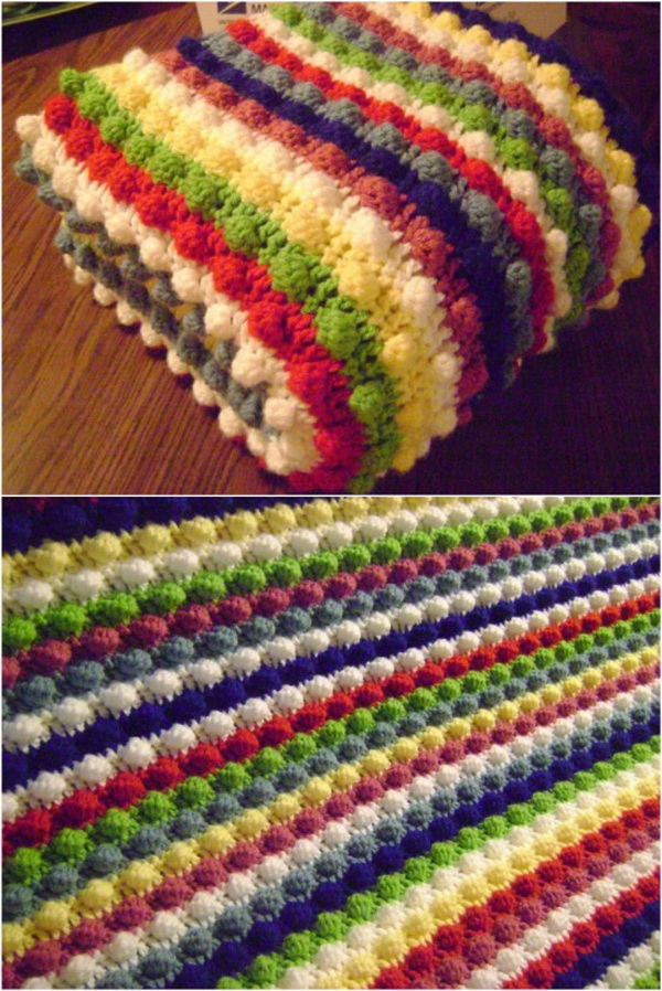 Quick And Easy Crochet Blanket Patterns For Beginners: Blackberry Salad Striped Afghan.