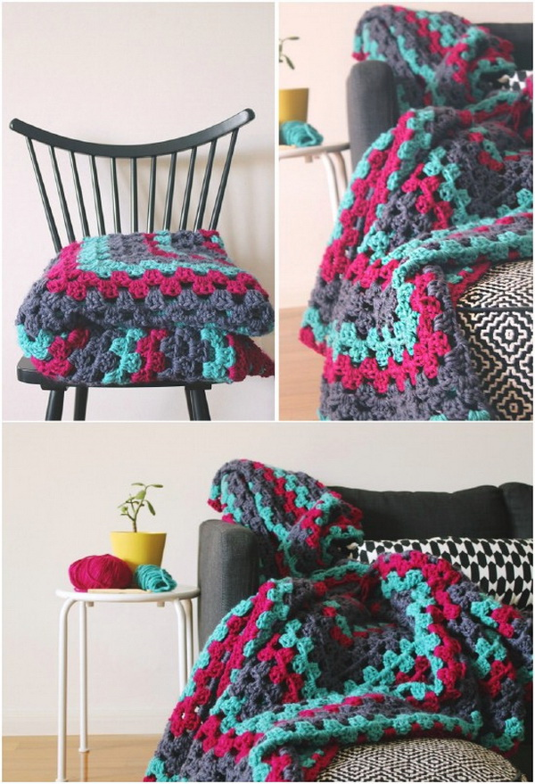 Quick And Easy Crochet Blanket Patterns For Beginners: Giant Granny Square Throw.