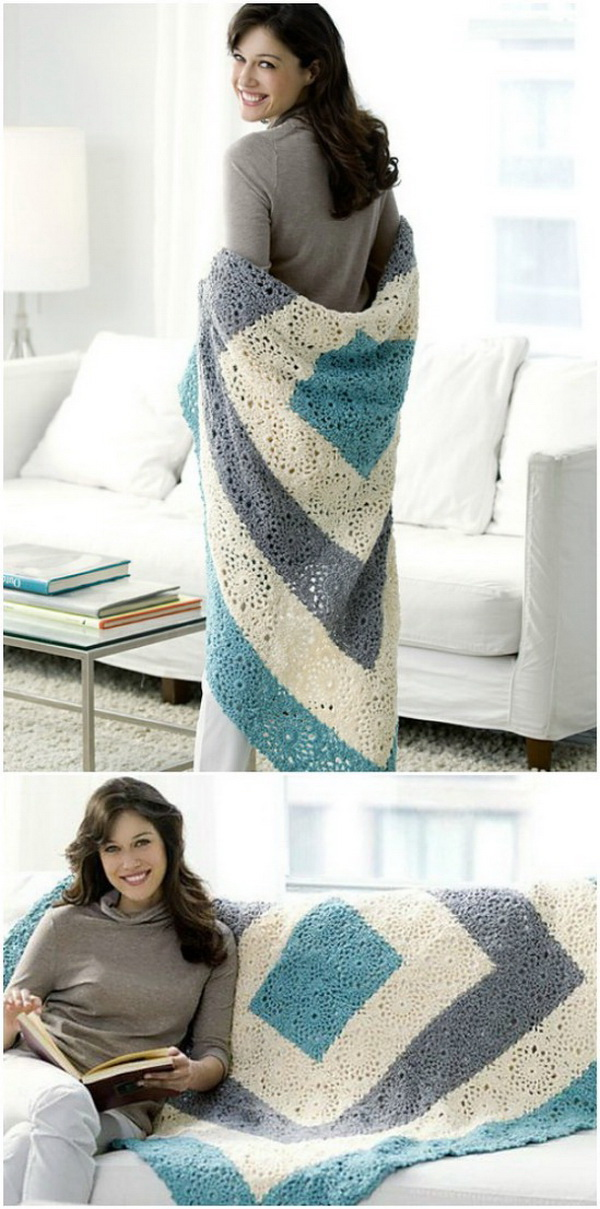 Quick And Easy Crochet Blanket Patterns For Beginners: Square Upon Square Throw.