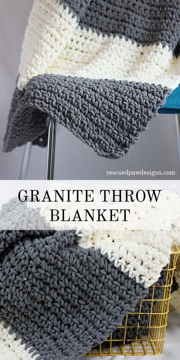Quick And Easy Crochet Blanket Patterns For Beginners: Granite Crochet Throw Blanket.