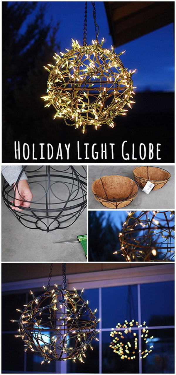 DIY Holiday Light Globe. These globe lights look especially btilliant! Amazing holiday light and just perfect for outdoor decoration with much more rustic farmhouse charm.