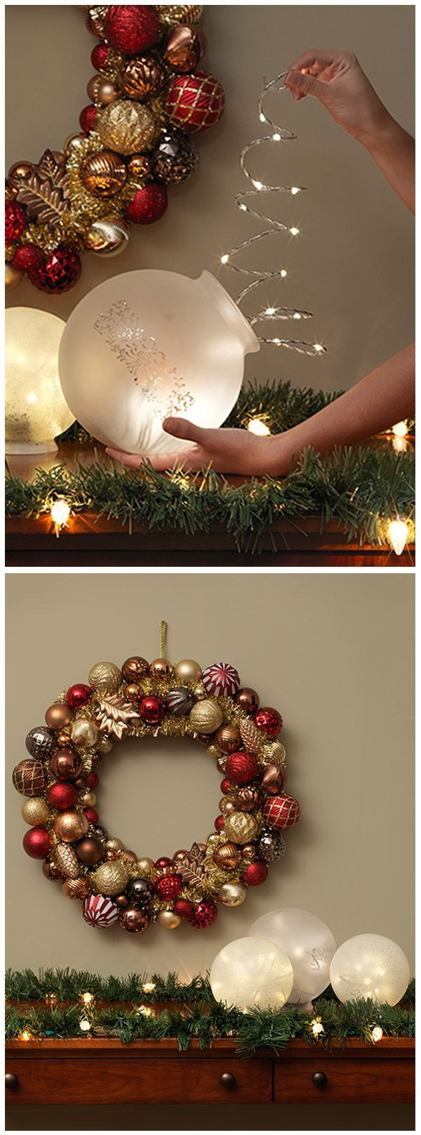 Globe Light Winter Luminaries. Simply take several globe balls and put inside some fairy lights! This easy DIY luminaries will surely add some twinkle to your holiday and winter decorating. You can make in less than a day with a few materials! Great for your mantel decoration!