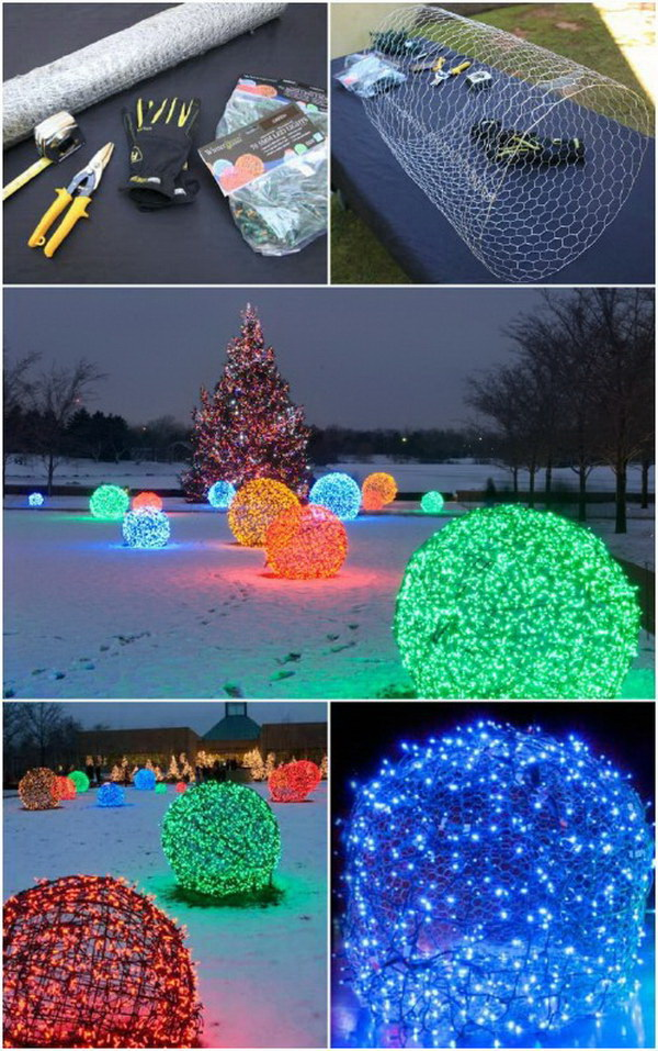 DIY Christmas Light Balls. These awesome outdoor lighted balls are quick to make with chicken wire and a strand of lights in different colors! They are popular for outdoor Christmas decorations.