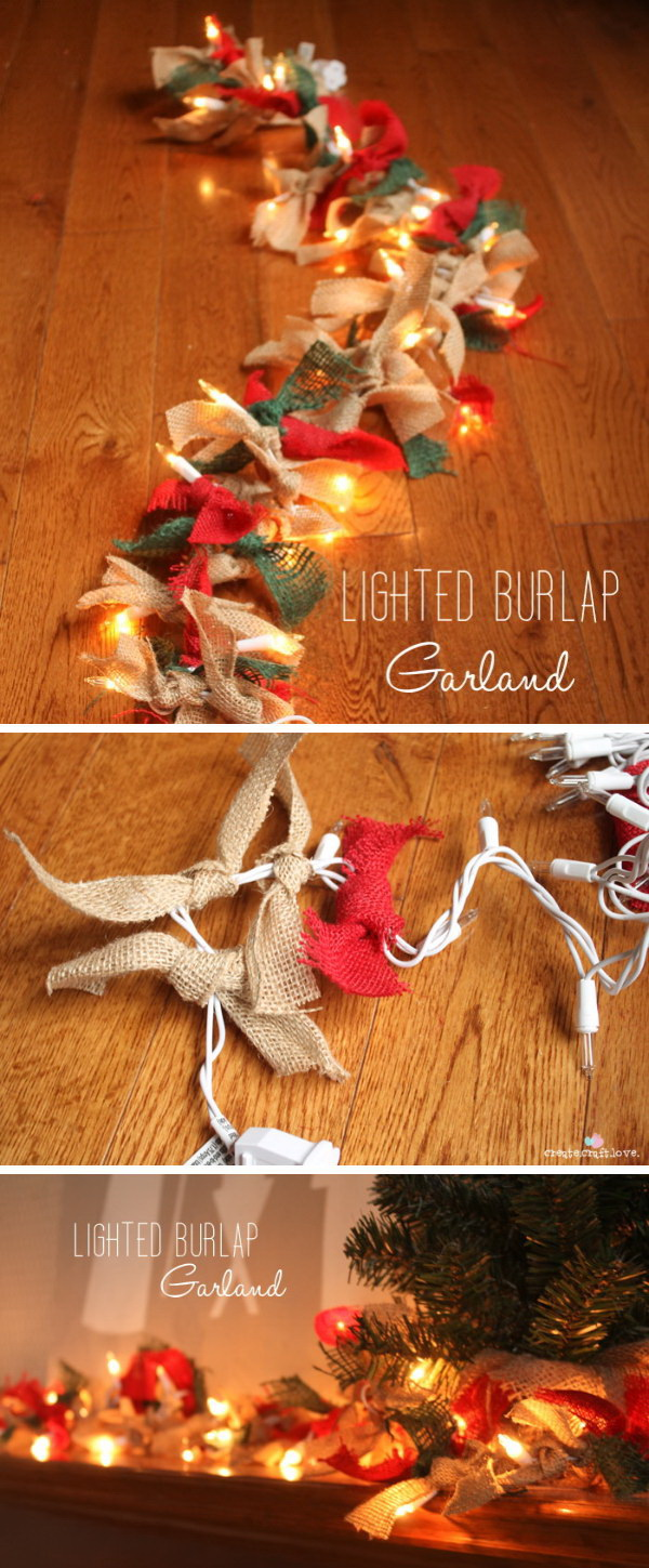 Lighted Burlap Garland. Going for a rustic Christmas theme this year with this lighted burlap garland. Get materials to create your own.