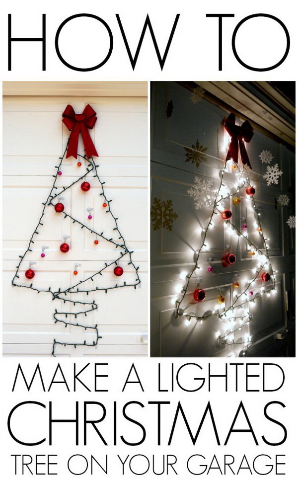 DIY Lighted Christmas Tree. Lovely lighted Christmas tree made with fairy lights and Christmas ornaments! This would look so pretty and festive on any door, window of your house.
