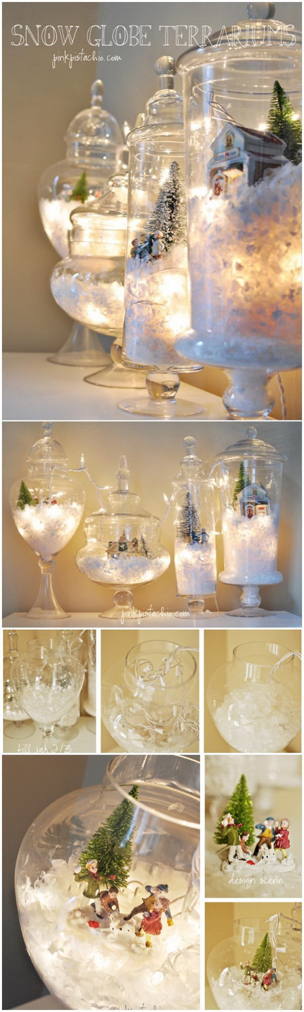 Let It Snow Globe Terrariums. These Let it Snow globe terrariums are simply beautiful and gorgeous and will be a great addition to your Christmas mantel. They are also simple and easy to make with some fake snow, Christmas lights, and holiday scenery you have a winner!