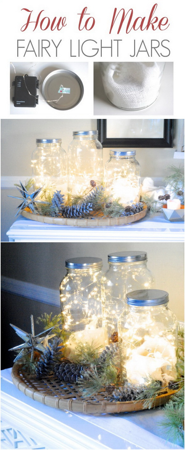 Lighted Mason Jars. Placing a lot of led lights into a simple jar and lighting them. This is such an easy but eye-catching decor that will definitely cheer and perk up your home.