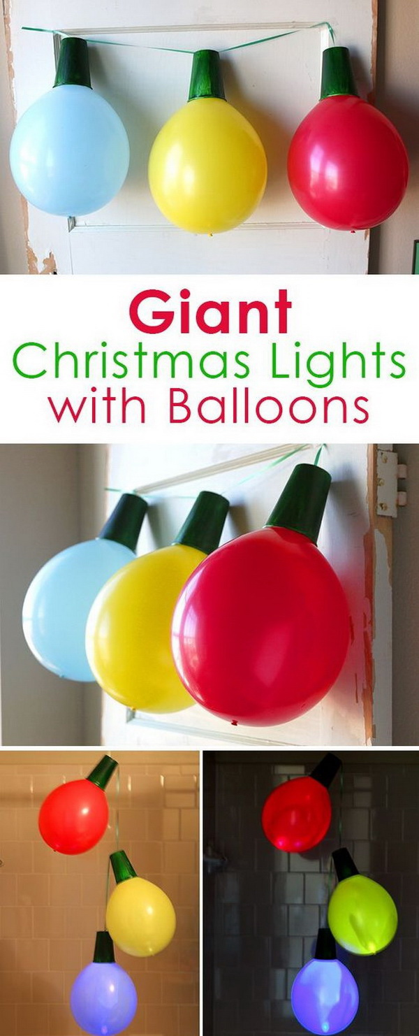 Giant Christmas Light Garland with Balloons. Use balloons and fairy lights to make these giant Christmas light garland and ornaments! They are perfect decorations for Christmas party!