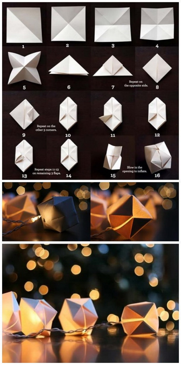 DIY Paper Cube String Lights. Add a little something special and a little extra flair to a room with these pretty paper cube string lights!