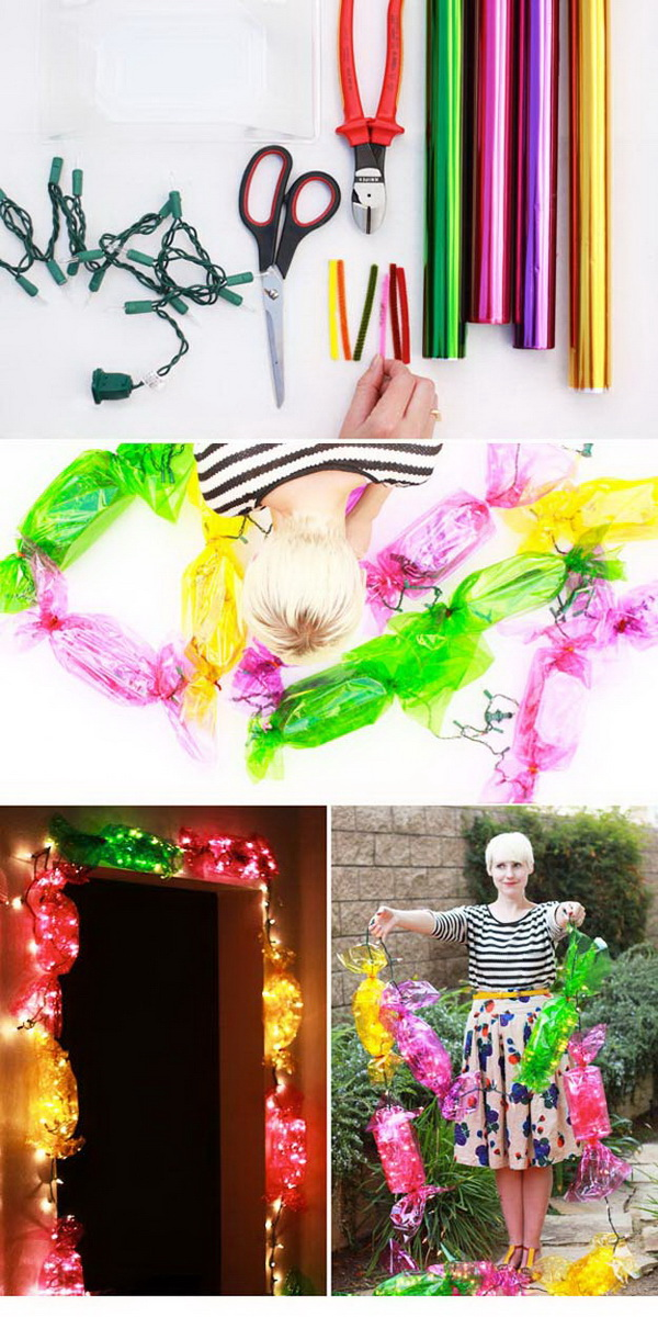 DIY Candy Lights. Light up your holiday season with these stunning and colorful candy lights! They look so lovely.