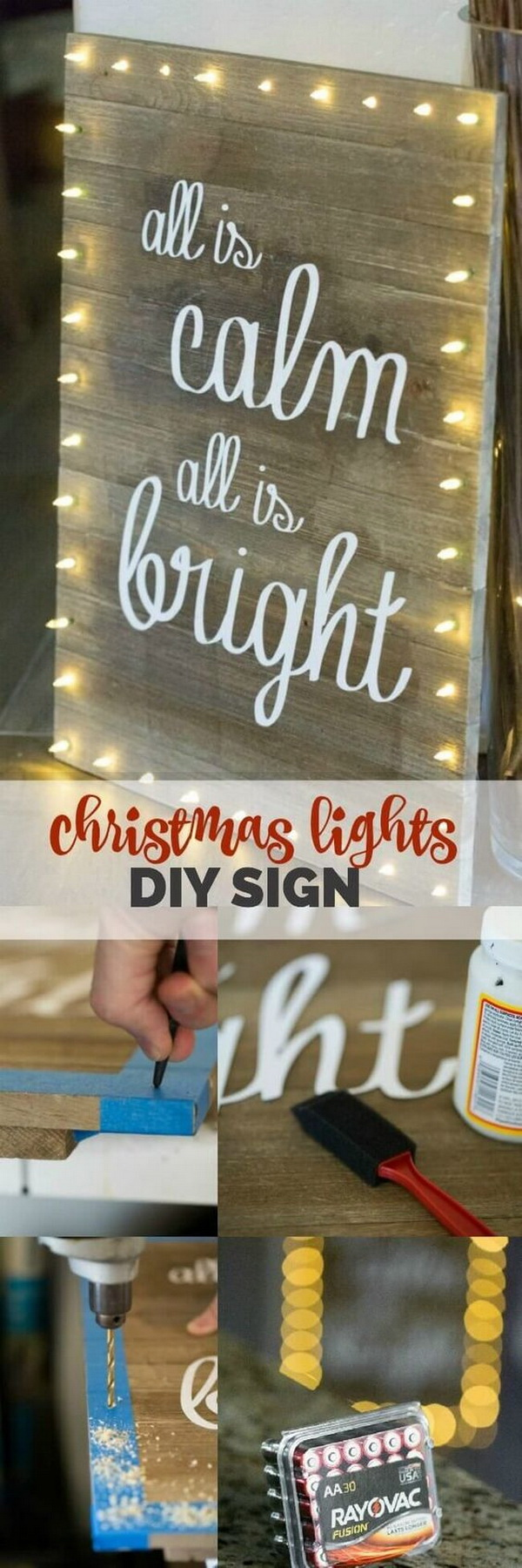 Christmas Lights DIY Board Sign. Great DIY project for your rustic Chriatmas decoration!