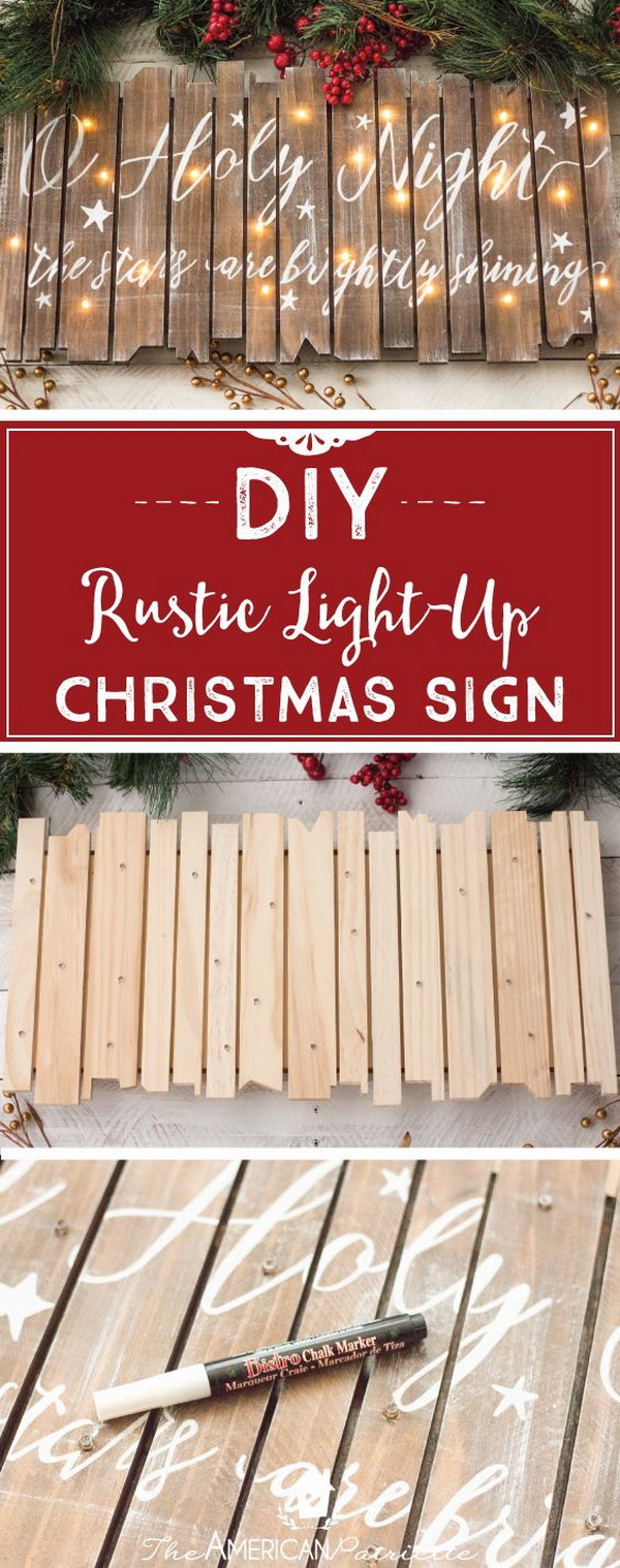 DIY Rustic Light-Up Christmas Sign. Bring a touch of rustic warmth to your decor with this stunning and elegant light-up sign this Christmas. Great for holiday mantel decoration!