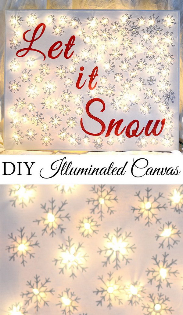 DIY Illuminated Christmas Canvas. Brighten up your room with this simple DIY lighted canvas with a special