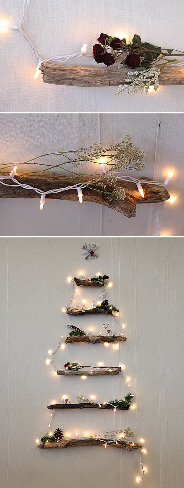 DIY Lighted Twig Christmas Tree. A beautiful DIY Christmas tree made with string lights and rustic twigs on the wall. Great idea for indoor Christmas decoration!
