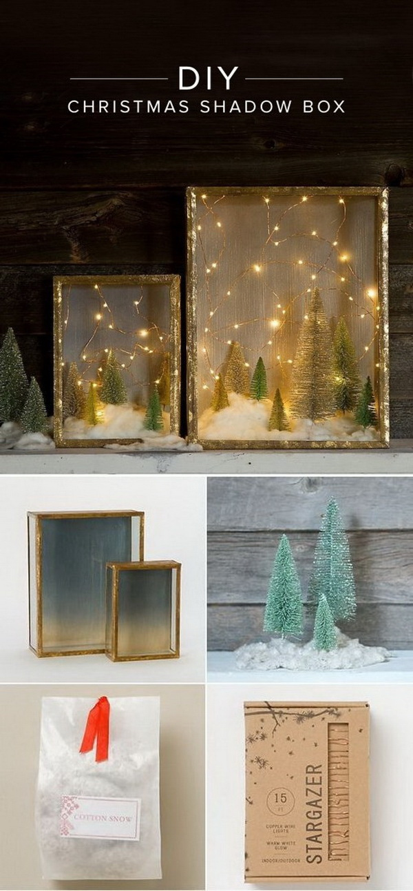 DIY Illuminated Forest Shadow Box for Christmas. Create an enchanting illuminated forest shadow box in minutes for a cold Winter night! What you need are just four materials: glam shadow boxes, brush trees, snow, copper-wire lights — all can be purchased or get arround your home.