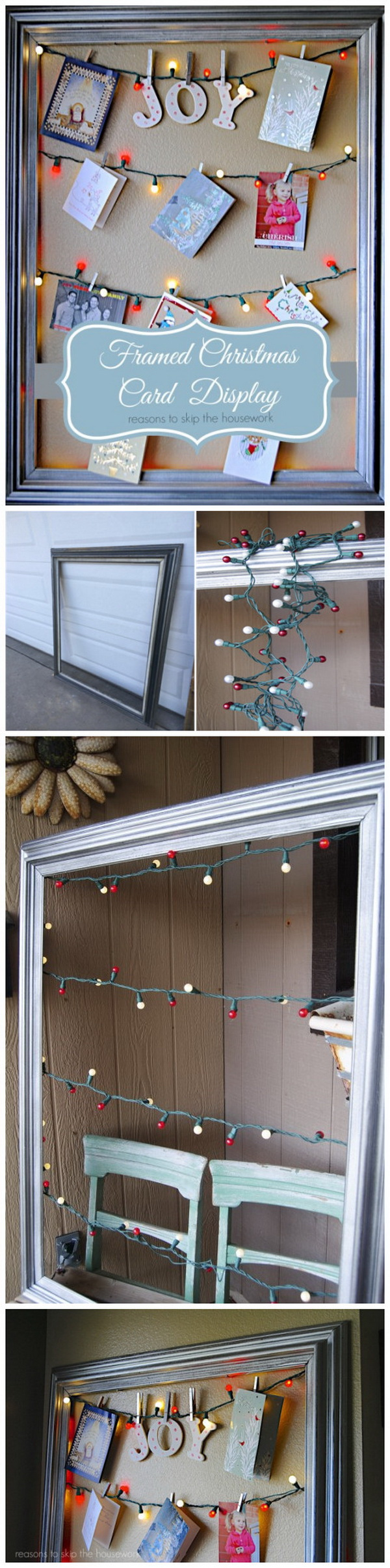 Lighted Christmas Card Display Frame. Love this unique way to display Christmas cards with string lights and a frame. It will surely be a focal point of your home this holiday!