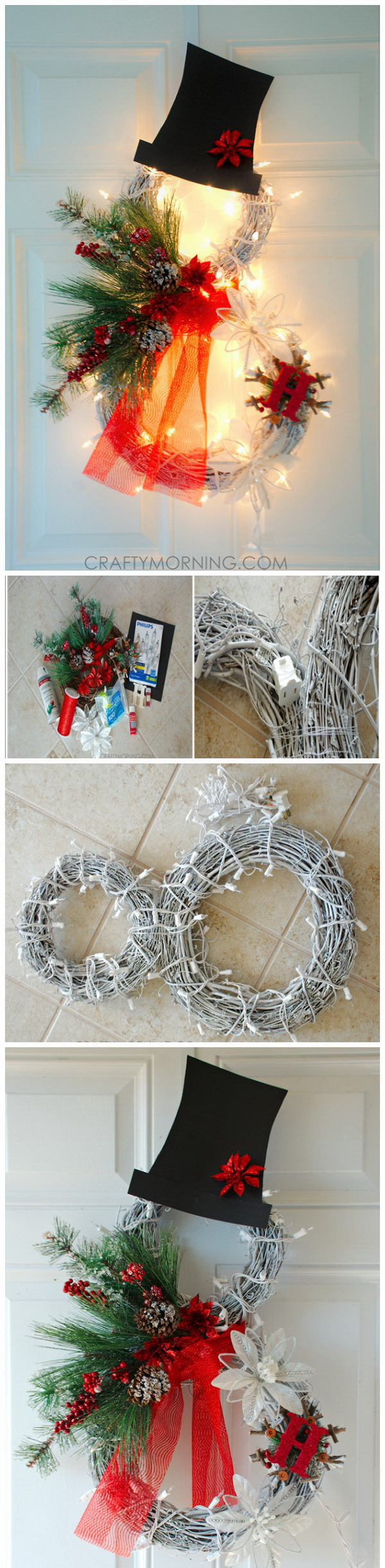 Lighted Grapevine Snowman Wreath. Beautiful lighted grapevine snowman wreath to make for a Christmas door decoration and add a feminine touch to the decoration. You can personalize it with an initial, making it a lovely gift.
