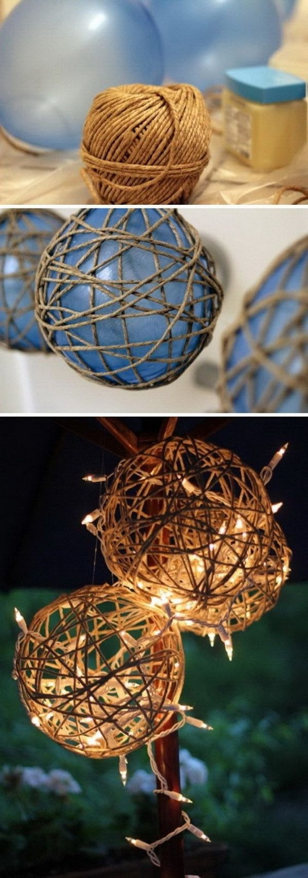 DIY Twine Garden Lanterns. This DIY twine garden lantern is sure to help you achieve that country look that you want. It can be very pretty if the thread or yarn is painted with different colors for the holiday season.