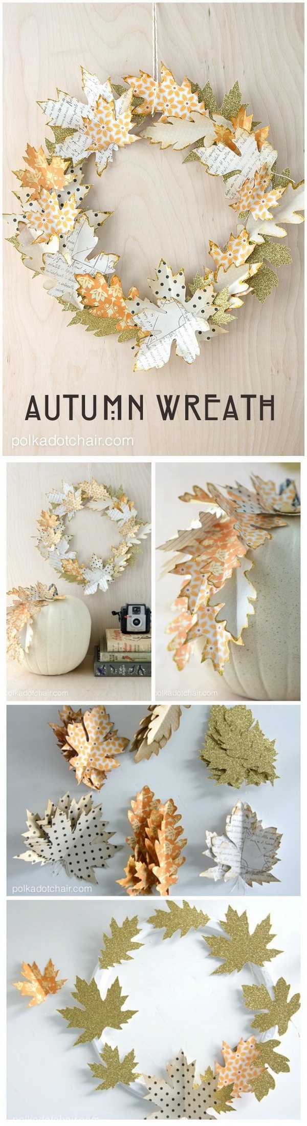 Autumn Paper Leaf Wreath. Add some fall DIY decor to your home with this paper wreath! Elegant and  simple decorating ideas for Thanksgiving.