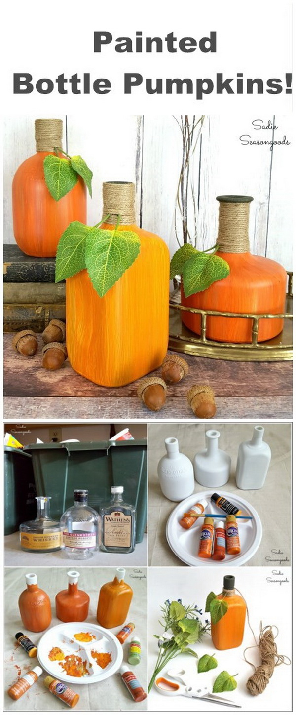 Bourbon Painted Bottle Pumpkins. Paint repurposed and upcycled glass bottles into pumpkins for DIY autumn and fall decor!