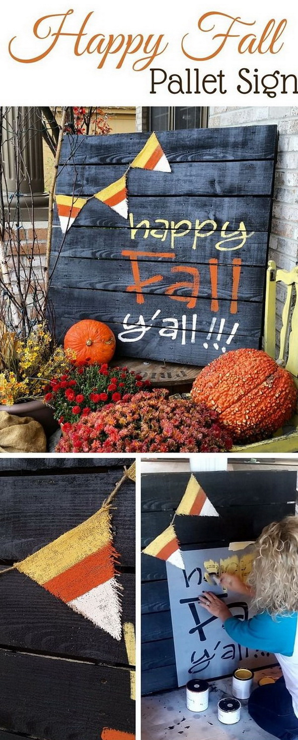 Happy Fall Pallet Painted Sign. Happy Fall Y'all painted pallet for your front porch! This is an adorable idea for your harvest themed decorations.