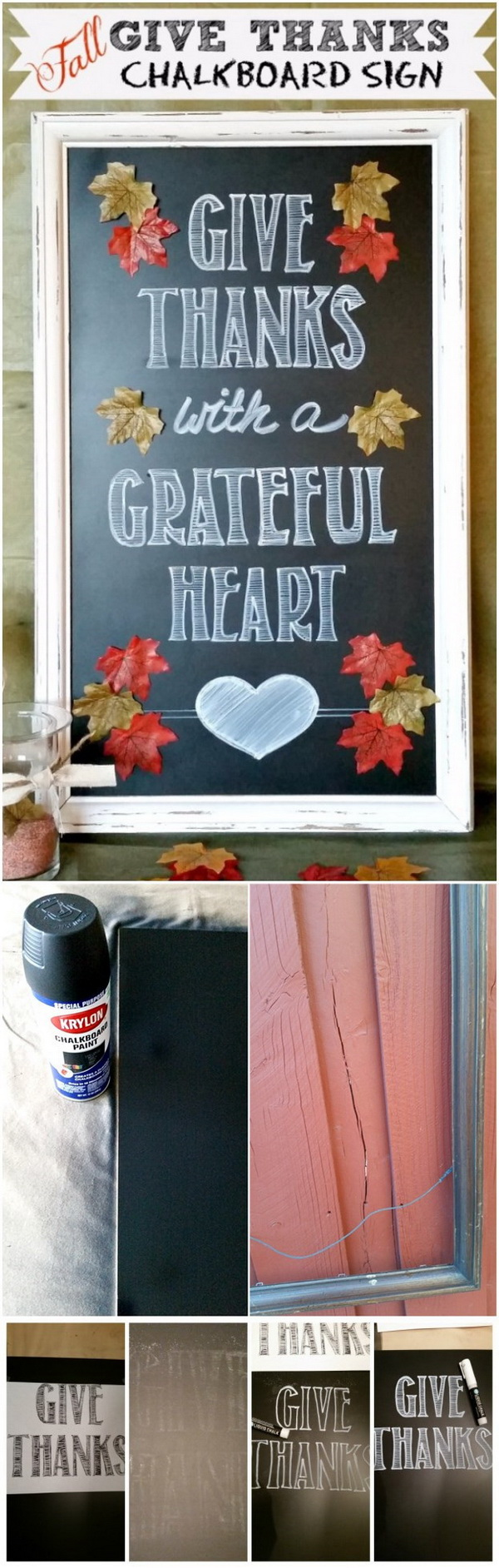 Fall Give Thanks Chalkboard Sign. Upcycle the old frame in your garage into something wonderful for your fall and Thanksgiving decoration! Now, it's reborn into a Fall Give Thanks Chalkboard Sign!