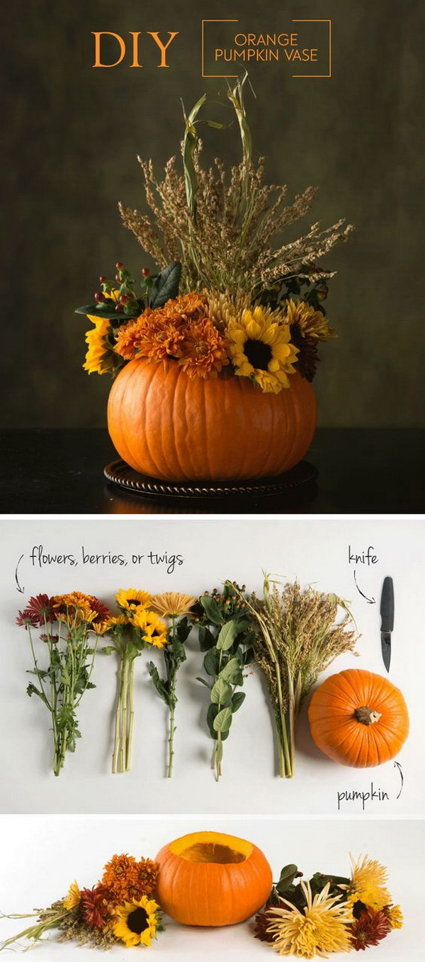DIY Thanksgiving Centerpieces. Great table centerpiece made with pumpkin, flowers and other fall plants!