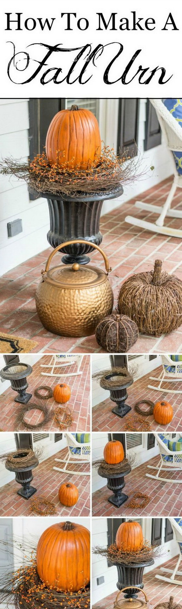 DIY Fall Planter. Great fall decor that you can make in no time!