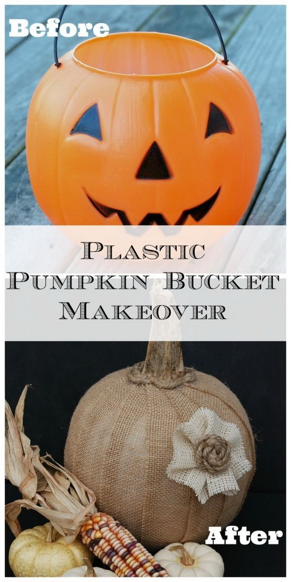 Plastic Pumpkin Bucket Makeover. Repurpose the plastic halloween pumpkin bucket into this rustic decor for fall! A great dollar store craft that'll let you more your decor from Halloween to Fall in a snap!