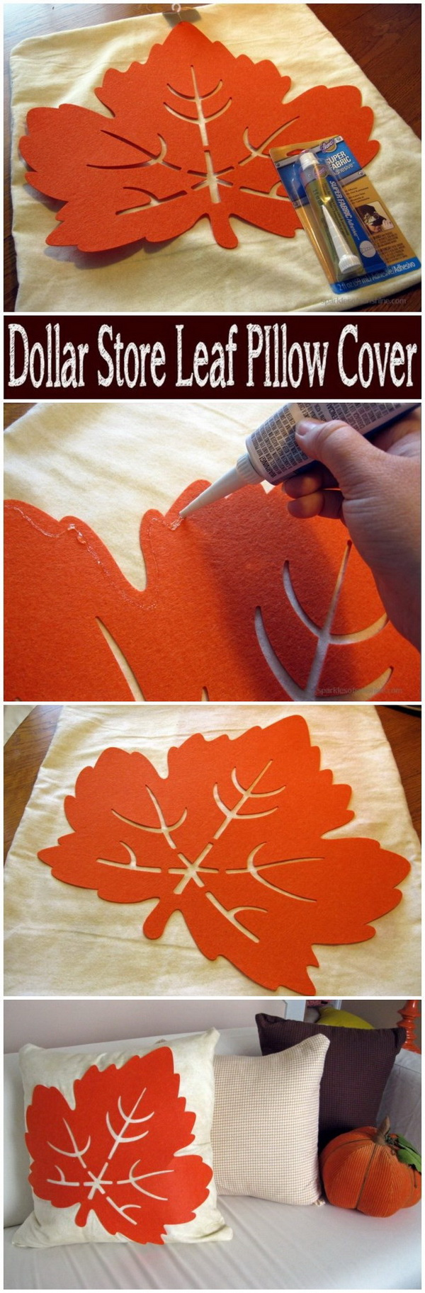 Dollar Store Leaf Pillow Cover. Bring your living room into the fall season by making this cheerful leaf throw pillow.