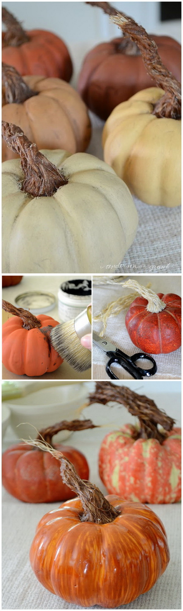 DIY Pumpkins with Realistic Looking Stems. Take the chalk painted pumpkins from ordinary to extraordinary by creating a realistic looking DIY stem.