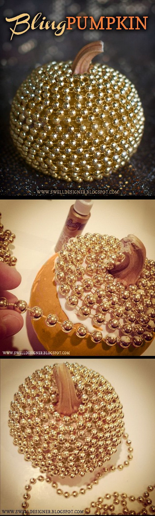 DIY Gold Bling Pumpkin. Make a cool and stylish metallic pumpkin as a fall decoration! What you need are Tacky Glue and a string of gold mardi gras beads. It will surely add a sophisticated look to your decor!