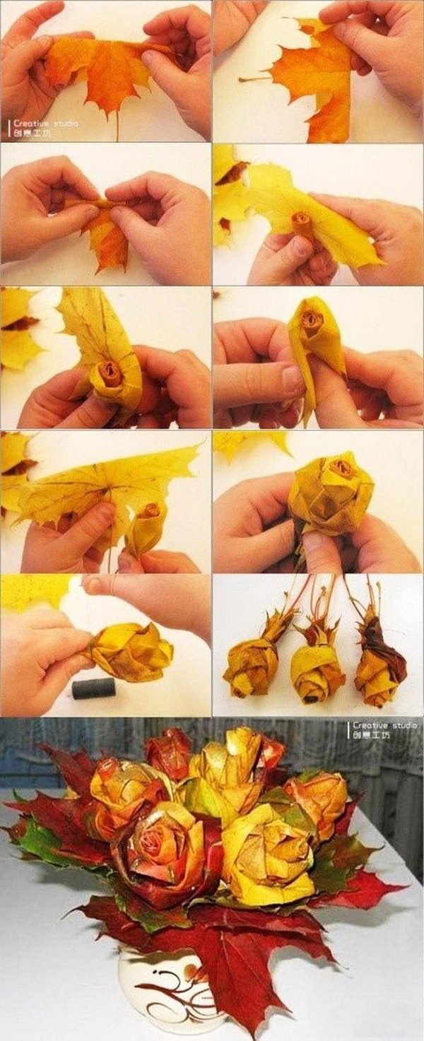 Autumn Leaf Rose Bouquet. Make a bouquet with a bundle of these leaf roses and it would be really cool and unique for an Autumn wedding. It is not so difficult to make roses out of leaves with these step by step tutorials.