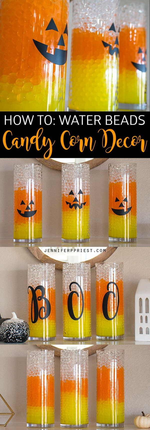 Candy Corn Vase for Halloween. Fill the clear vase with 3 colors of water beads for a unique candy corn vase for Halloween decoration!