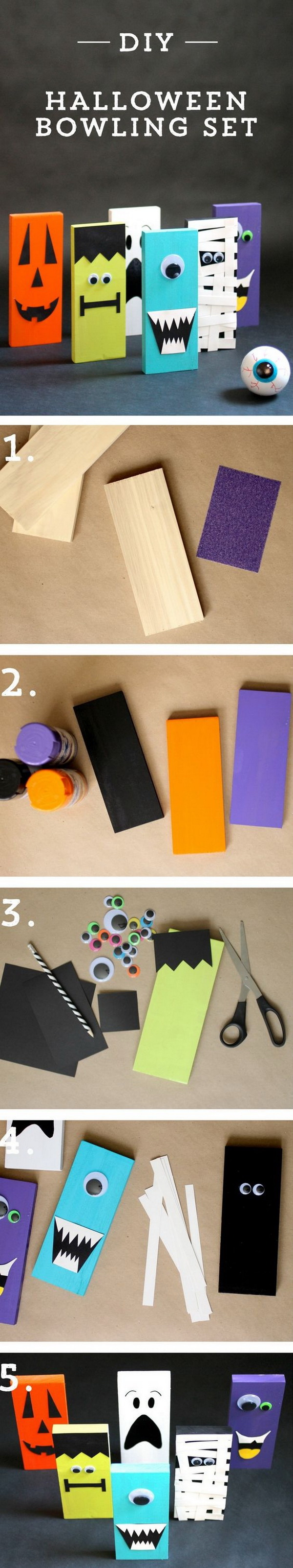 DIY Halloween Bowling Set. Create these adorable halloween bowling set with cute monster and jack-o'-lantern faces to entertain your guests for this Holiday party. Or you can set them together as a holiday decoration on the mantel or in your classroom.