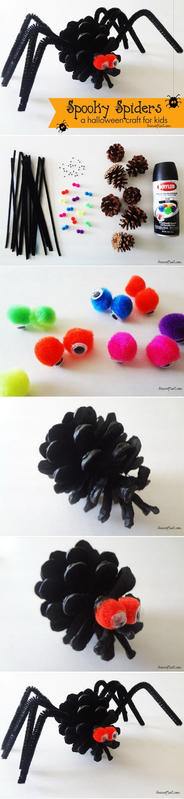 Spooky Spiders Made with Pine Cone. Make these super easy spooky spiders with pine cones! It is really a fun Halloween craft for kids.