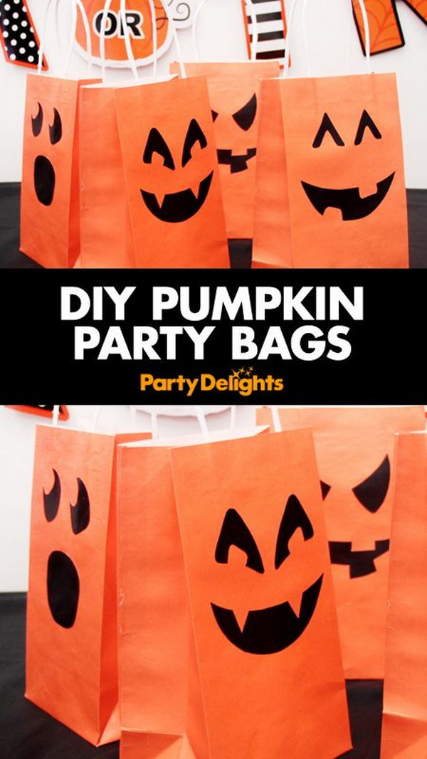 Pumpkin Party Bags. Create some orange paper bags with lovely grinning jack-o'-lanterns faces printed in black! Little project will bring a great pumpkin patch to your party.